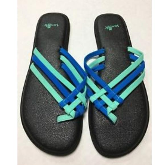 92fda9f0f Sanuk Yoga Salty Opal Indigo Bunting Sandals New